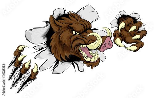 Tablou Canvas Mean Boar Warthog Razorback Mascot