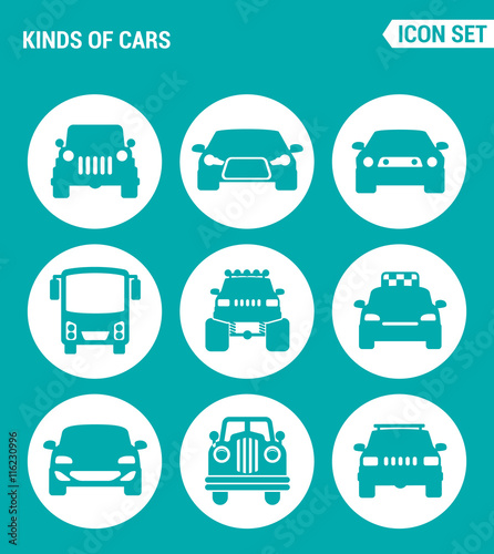Vector Set Web Icons Kinds Of Cars Suv Car Bus Muscle Car Big