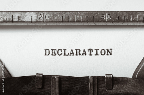 word declaration typed on typewriter Canvas Print