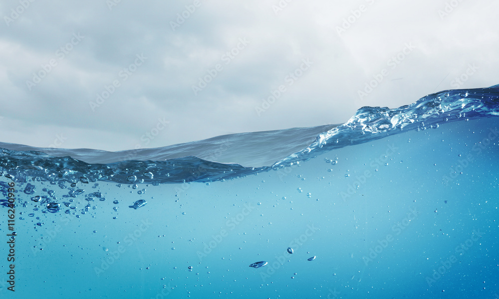 Fototapeta Ocean underwater view . Mixed media