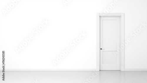 white wall and door background Wallpaper Mural