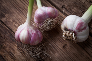 garlic on a wooden rustic table