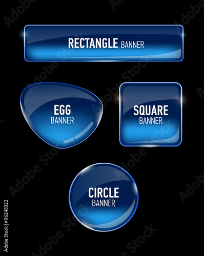 Obraz Set of glass banners for your design. - fototapety do salonu