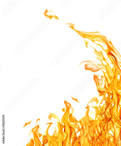 Tuinposter Vuur dark yellow flame corner isolated on white