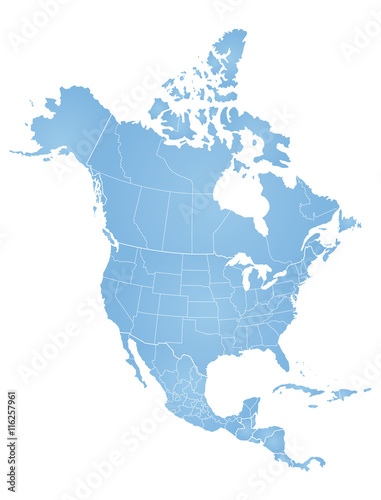 Stampa su Tela  Map of North America