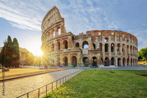 Spoed Foto op Canvas Rome Colosseum in Rome with morning sun
