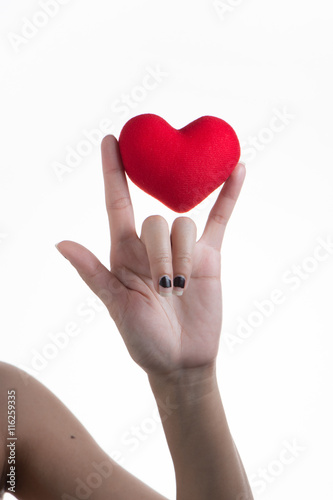 I Love You Language Hand Sign With Holding Heart Symbol In Hands