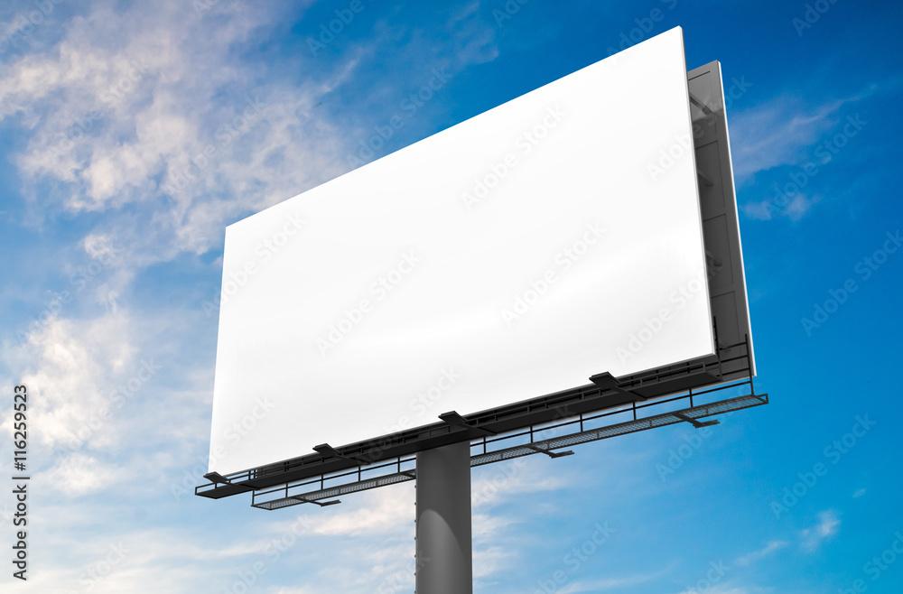Fototapety, obrazy: 3D illustration of blank white billboard against blue sky.
