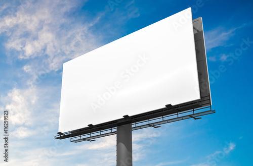 Obraz 3D illustration of blank white billboard against blue sky. - fototapety do salonu