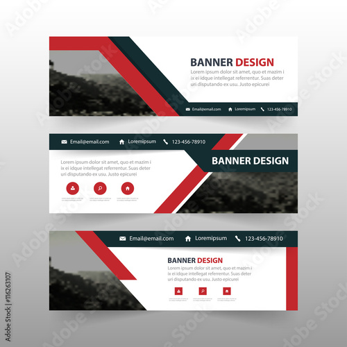 red black triangle abstract corporate business banner template horizontal advertising business banner layout template flat