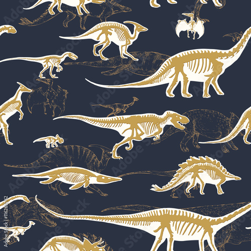 Photo  Seamless pattern, endless repeatable background with silhouettes set of skeletons of dinosaurs and fossils