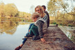 happy family spending time together outdoor. Lifestyle capture, rural cozy scene.