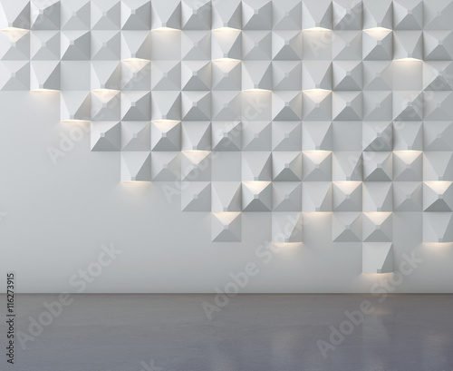 Fototapety, obrazy: Concrete floor and wall pattern with lighting - 3D illustration