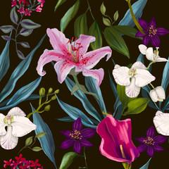 Fototapeta Egzotyczne seamless exotic floral fashion pattern
