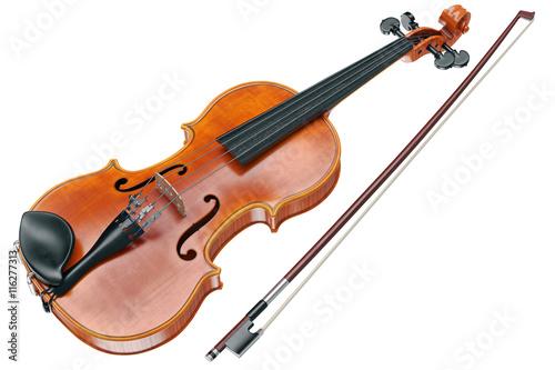 Fotografie, Obraz  Viola wooden classical musical equipment. 3D graphic