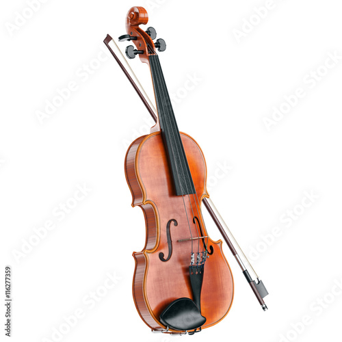 Fototapeta Violin classical stringed wooden musical instrument. 3D graphic