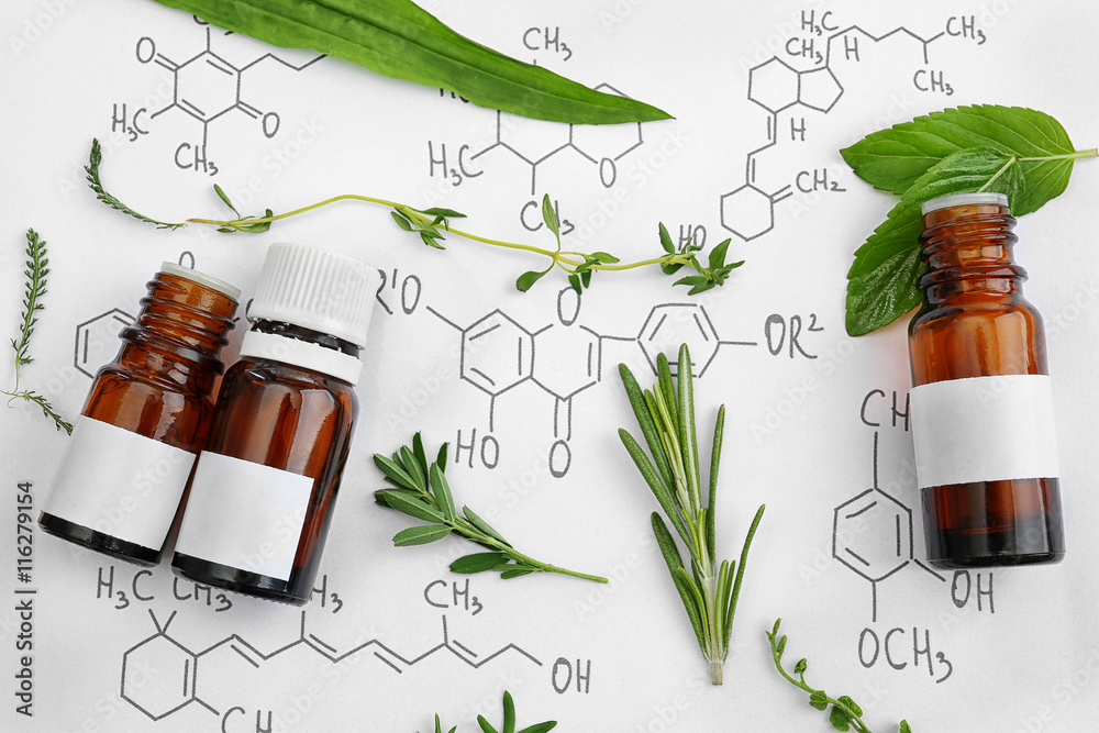 Fototapety, obrazy: Dropper bottles and herbs on chemical formulas background