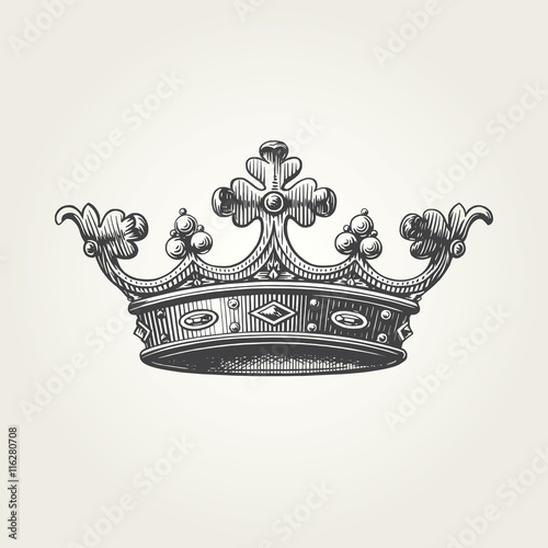 Photographie Hand drawn crown. Vintage engraved illustration