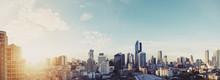 Panoramic Cityscape Of Bangkok City In Sunrise, Vintage Tone