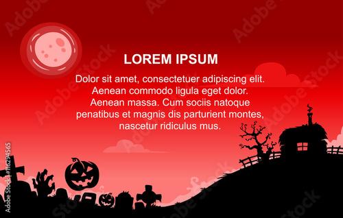 Spoed Foto op Canvas Bruin Halloween Background With Red Sky