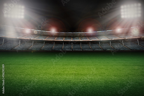 Poster de jardin Stade de football empty stadium with soccer field