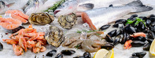 Fresh Fish And Seafood With Aromatic Herbs And Spices.
