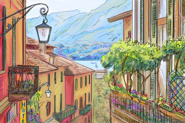 Panel Szklany Uliczki Drawing to the greek town - illustration