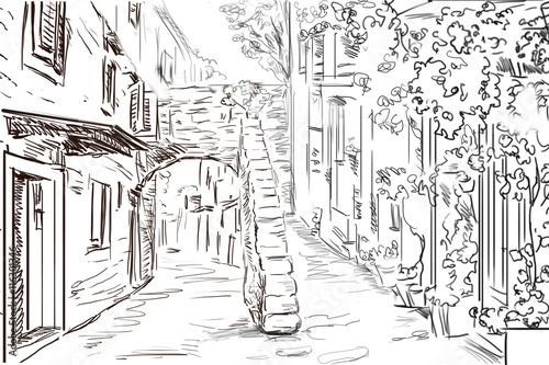 Cadres-photo bureau Illustration Paris Drawing to the greek town - sketch illustration