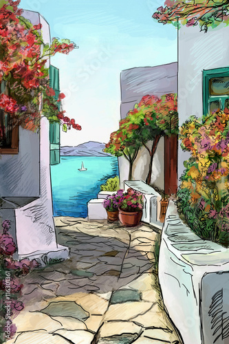 Photo  Drawing to the greek town - illustration