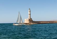Venetian Lighthouse In Chania, Greece, Island Of Crete
