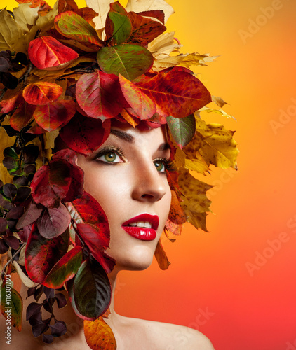 Fototapety, obrazy: Autumn Woman Fashion Portrait. Beautiful Model Girl with colourf