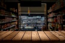Wood Table Top On Blur Superma...