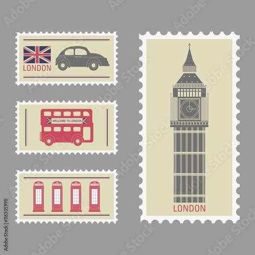 Poster Affiche vintage London stamps