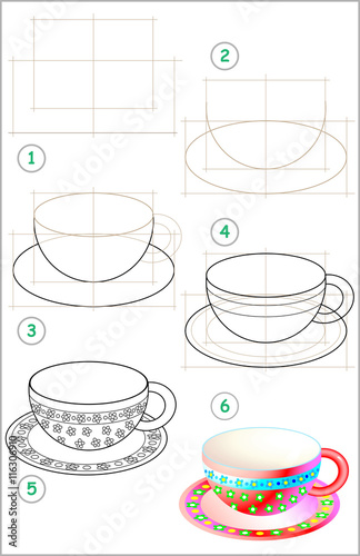 Fotografie, Obraz  Page shows how to learn step by step to draw a beautiful cup