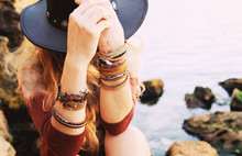 Female Hands With Boho Chic Br...