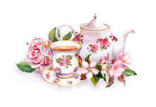 Teacup, Tea Pot, Pink Flowers - Rose And Cherry Blossom. Watercolor