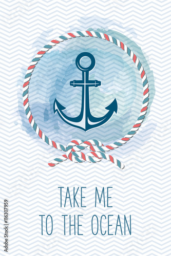 Leinwand Poster Sea card with anchor, rope, knot, quote