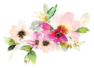 Plakat Flowers watercolor illustration