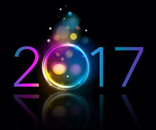 Colorful Glow 2017 New Year Vector Illustration.