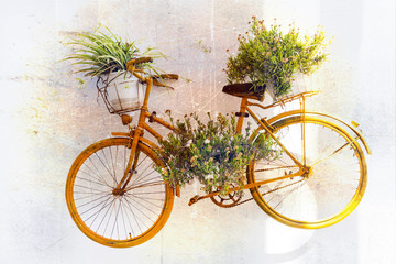 Fototapeta samoprzylepna charming floral street decoration with old bike. Retro picture