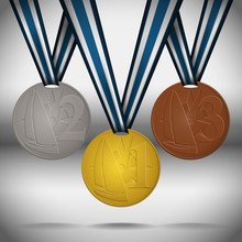 Gold, Silver And Bronze Medals With Ribbon Dedicated To Yachting Competitions. Vector Illustration.