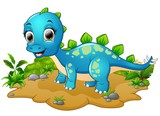 Fototapeta Dinusie - Happy blue dinosaur cartoon