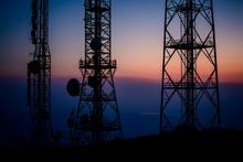 Repeater Radio Antenna On Mountain Top