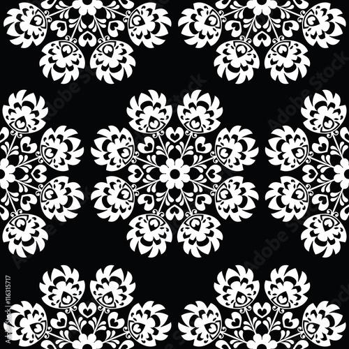 Fotografie, Tablou Seamless floral Polish folk art pattern - Wzory Lowickie, Wycinanki