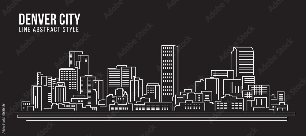 Fototapeta Cityscape Building Line art Vector Illustration design - Denver city