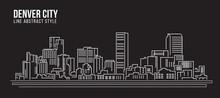 Cityscape Building Line Art Vector Illustration Design - Denver City