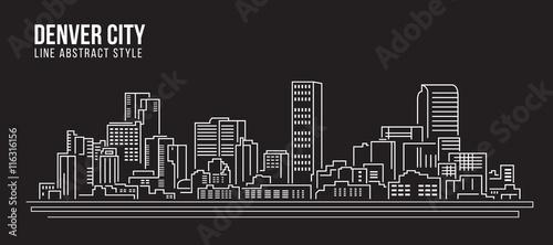 Pejzażu miejskiego budynku Kreskowej sztuki Wektorowy Ilustracyjny projekt - Denwerski miasto