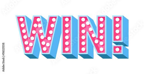 Fotografía  Win sign with colour confetti vector paper illustration