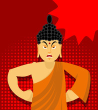 Angry Buddha In Pop Art Style....