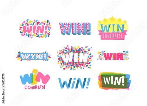Obraz na plátně Win sign with colour confetti vector paper illustration